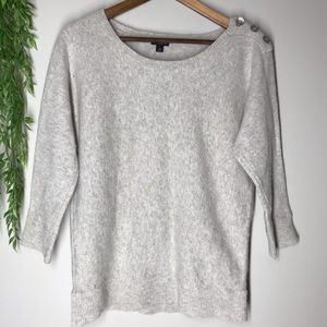 Ann Taylor 3/4 sleeve light gray sweater sz m